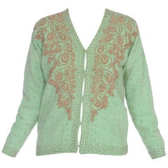 1950's Silk Lined Green Cashmere Peacock Beaded Sweater