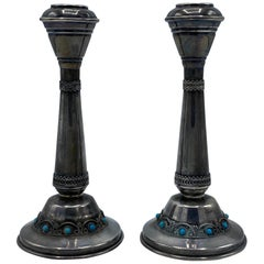 1950's Silver and Turquoise Judaica Pair of Candleholders