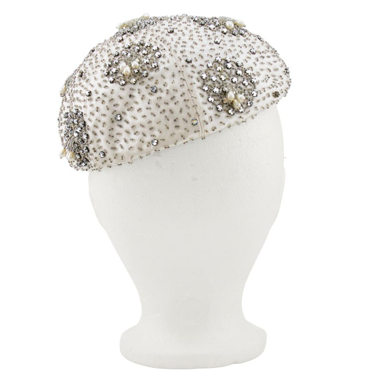 1950's Silver Beaded & Embellished Beret In Good Condition For Sale In Toronto, Ontario