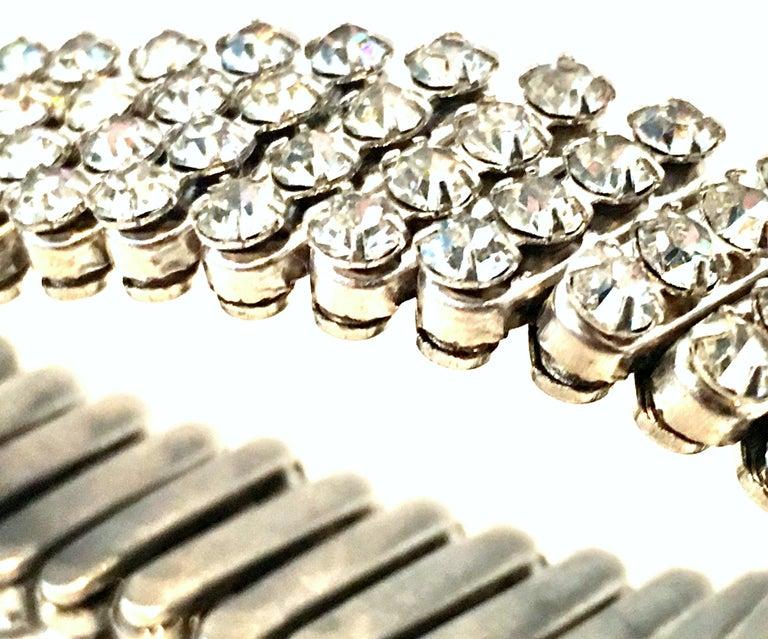 1950'S Silver & Crystal Rhinestone Expansion Link Bracelet 1