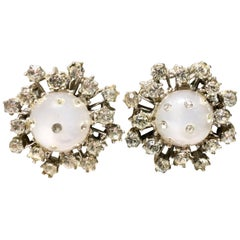 """1950'S Silver, Lucite & Swarovski Crystal """"Dome"""" Earrings"""