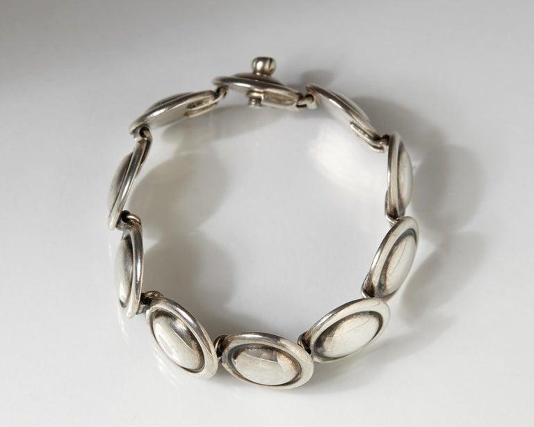 1950s Silver Scandinavian Modern Bracelet, Designed by Hans Hansen, Denmark In Excellent Condition For Sale In Stockholm, GB