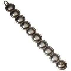 1950s Silver Scandinavian Modern Bracelet, Designed by Hans Hansen, Denmark