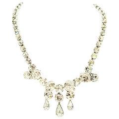 1950'S Silver & Swarovski Crystal Choker Style Necklace By, Eisenberg