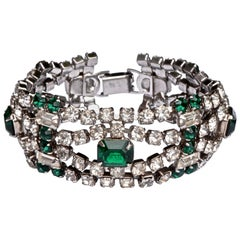 1950s Silver Tone Emerald Green and Clear Rhinestones Bracelet