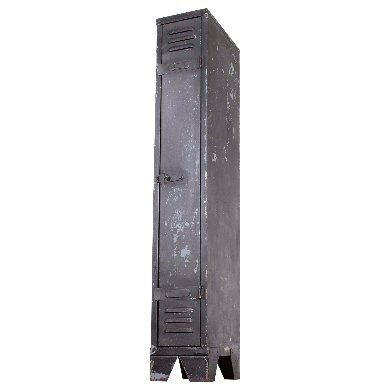 1950s Single Industrial Metal Locker, Matt Black