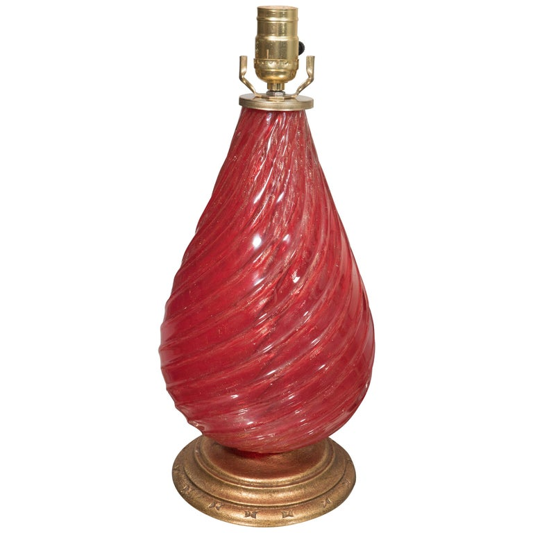 Single Vintage Red Murano Glass Lamp For Sale