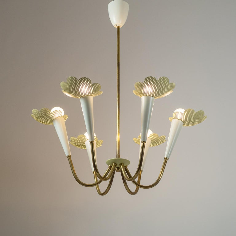 Mid-Century Modern 1950s Six-Arm Brass Chandelier with Pierced Shades For Sale