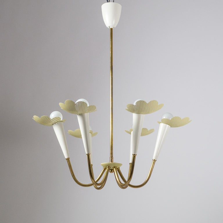 1950s Six-Arm Brass Chandelier with Pierced Shades For Sale 6