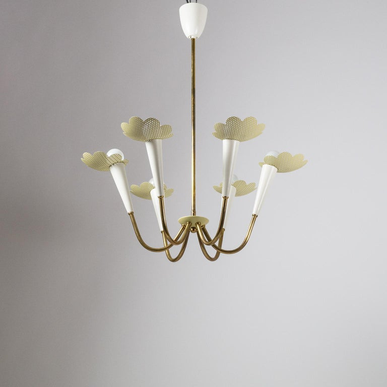 1950s Six-Arm Brass Chandelier with Pierced Shades For Sale 7