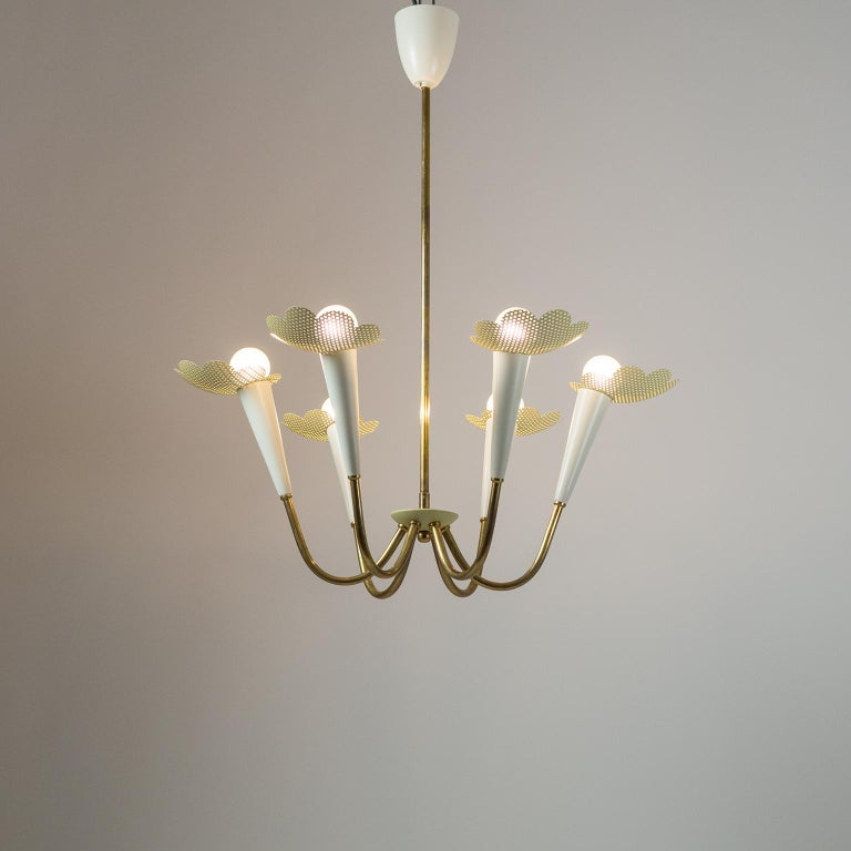 1950s Six-Arm Brass Chandelier with Pierced Shades For Sale 8