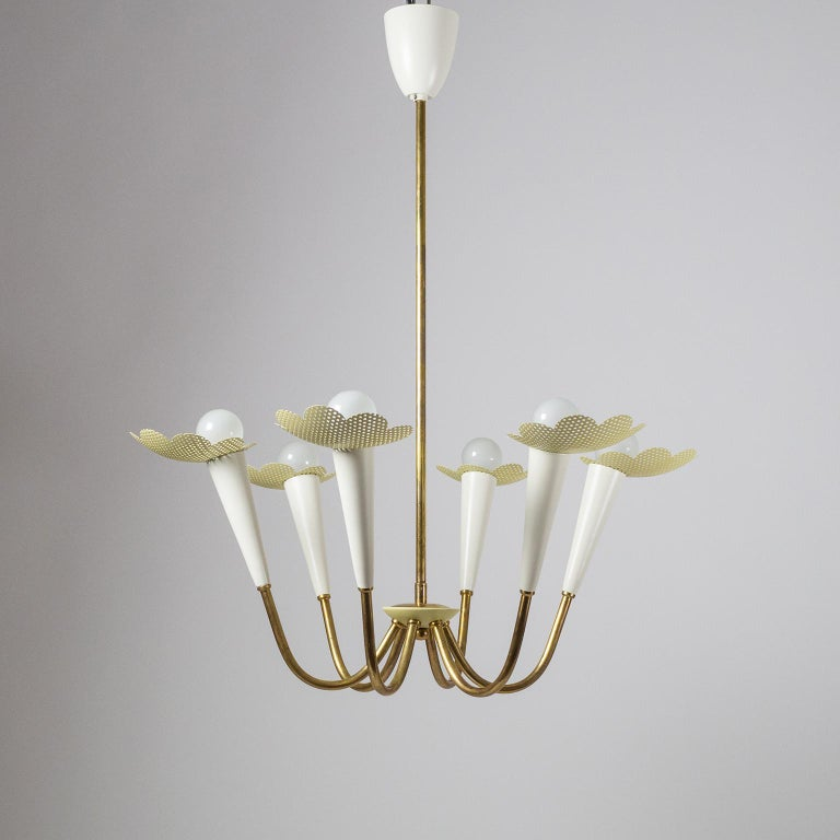 1950s Six-Arm Brass Chandelier with Pierced Shades In Good Condition For Sale In Vienna, AT