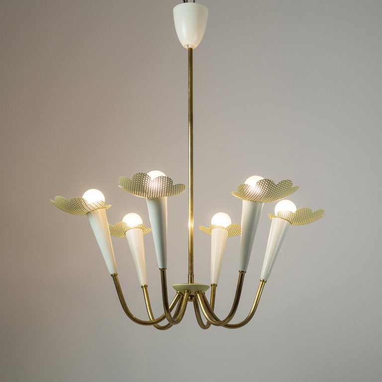 Lacquered 1950s Six-Arm Brass Chandelier with Pierced Shades For Sale