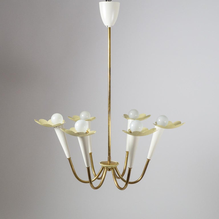 1950s Six-Arm Brass Chandelier with Pierced Shades For Sale 1
