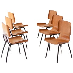 1950s Six Italian Curved Teak Chairs by SCC Societa' Compensati Curvi