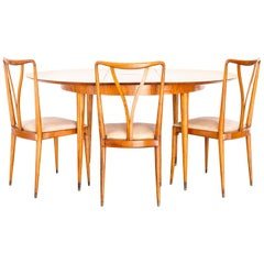 1950s Six Seats Dining Set in Caviúna Wood, by Giuseppe Scapinelli