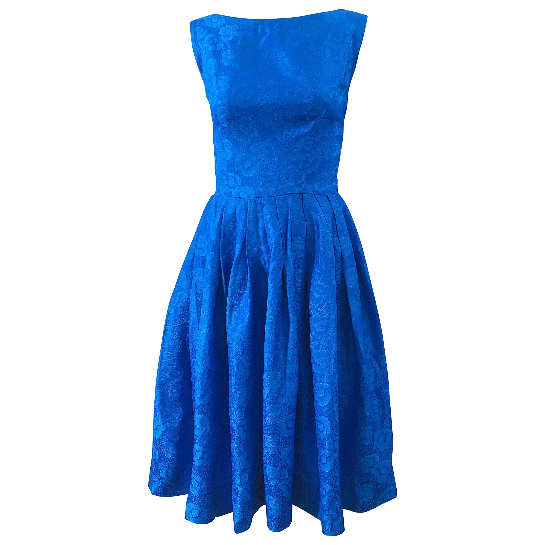 1950s Size 0 Cobalt Blue Silk Damask Fit n' Flare Vintage 50s Rockabilly Dress