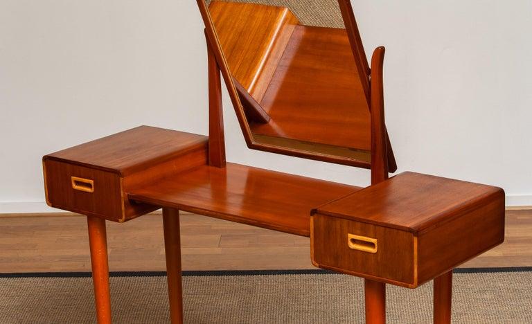 Scandinavian Modern 1950's Slim Mahogany Dressing Table / Vanity by Tibro, Sweden