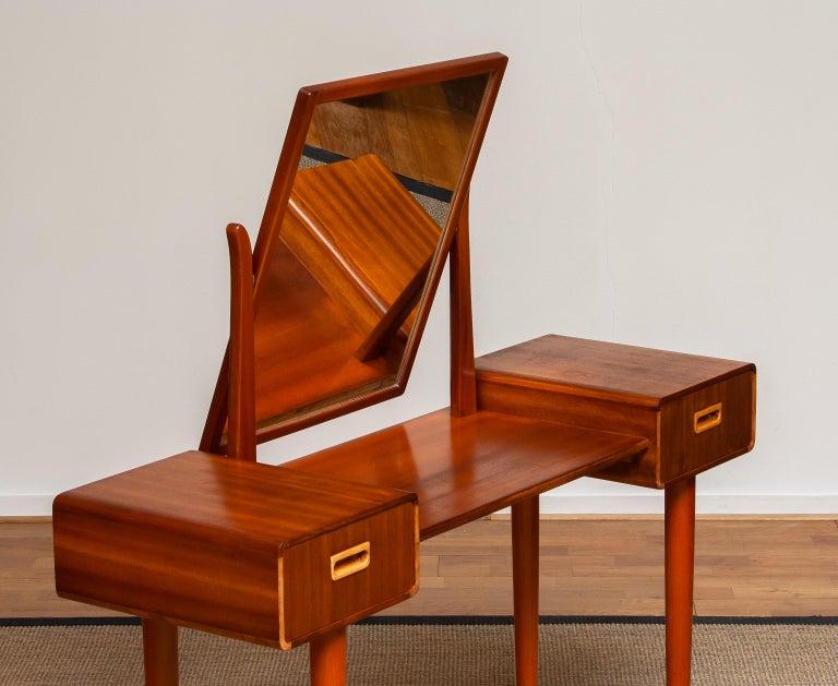 Swedish 1950's Slim Mahogany Dressing Table / Vanity by Tibro, Sweden