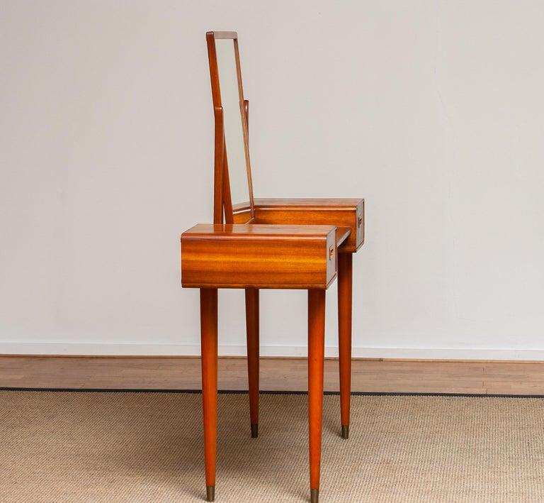 Beech 1950's Slim Mahogany Dressing Table / Vanity by Tibro, Sweden