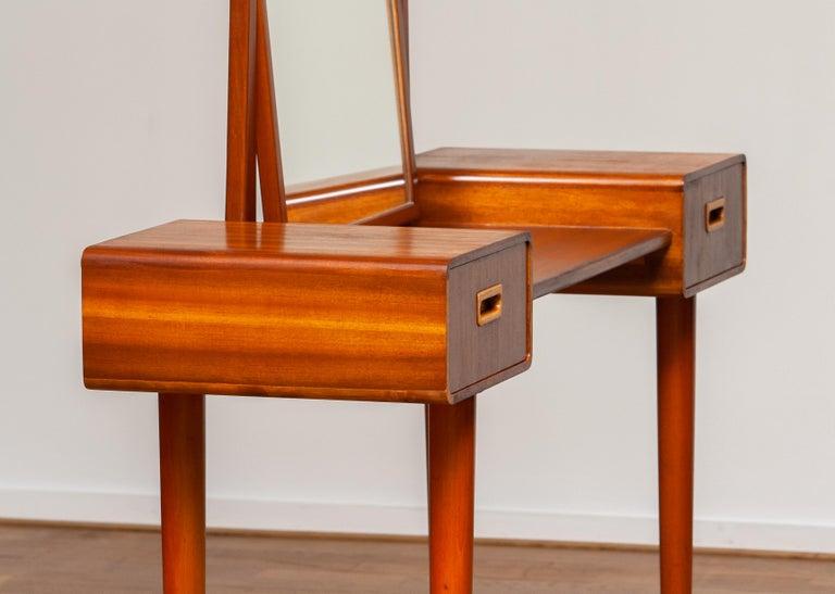 1950's Slim Mahogany Dressing Table / Vanity by Tibro, Sweden 1