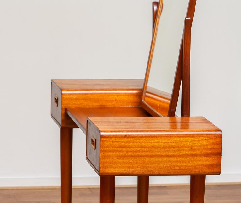 1950's Slim Mahogany Dressing Table / Vanity by Tibro, Sweden 2