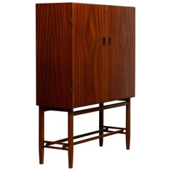 1950s, Slim Midcentury Mahogany Dry Bar / Cabinet by Forenades Mobler Sweden