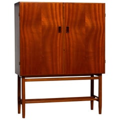 1950s, Slim Midcentury Mahogany Dry Bar / Cabinet by Forenades Mobler, Sweden