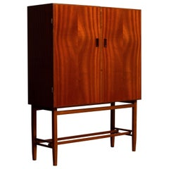 1950s, Slim Midcentury Mahogany Dry Bar or Cabinet by Forenades Mobler, Sweden
