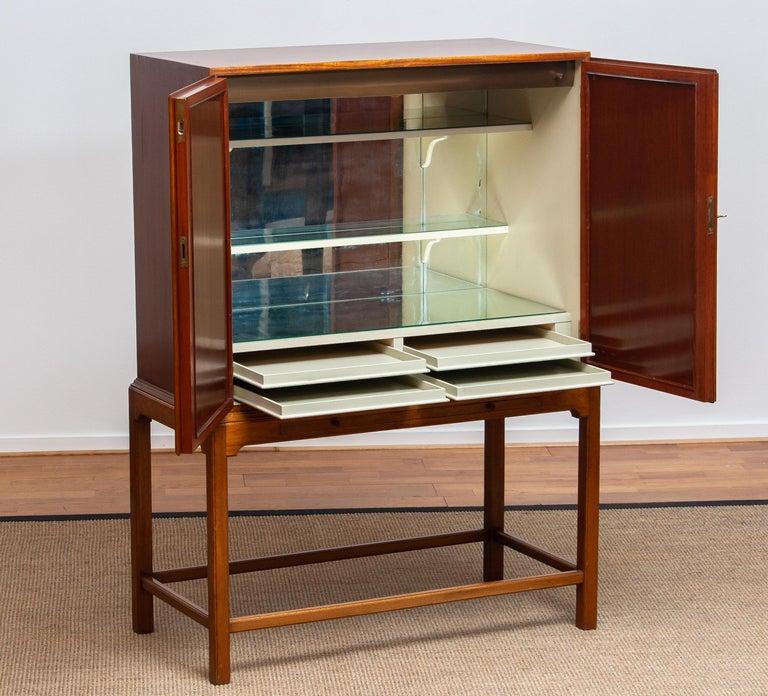 Brass 1950s, Slim Scandinavian Midcentury Mahogany Dry Bar / Luxury Cabinet