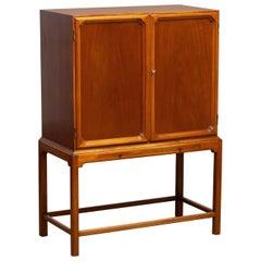 1950s, Slim Scandinavian Midcentury Mahogany Dry Bar / Luxury Cabinet