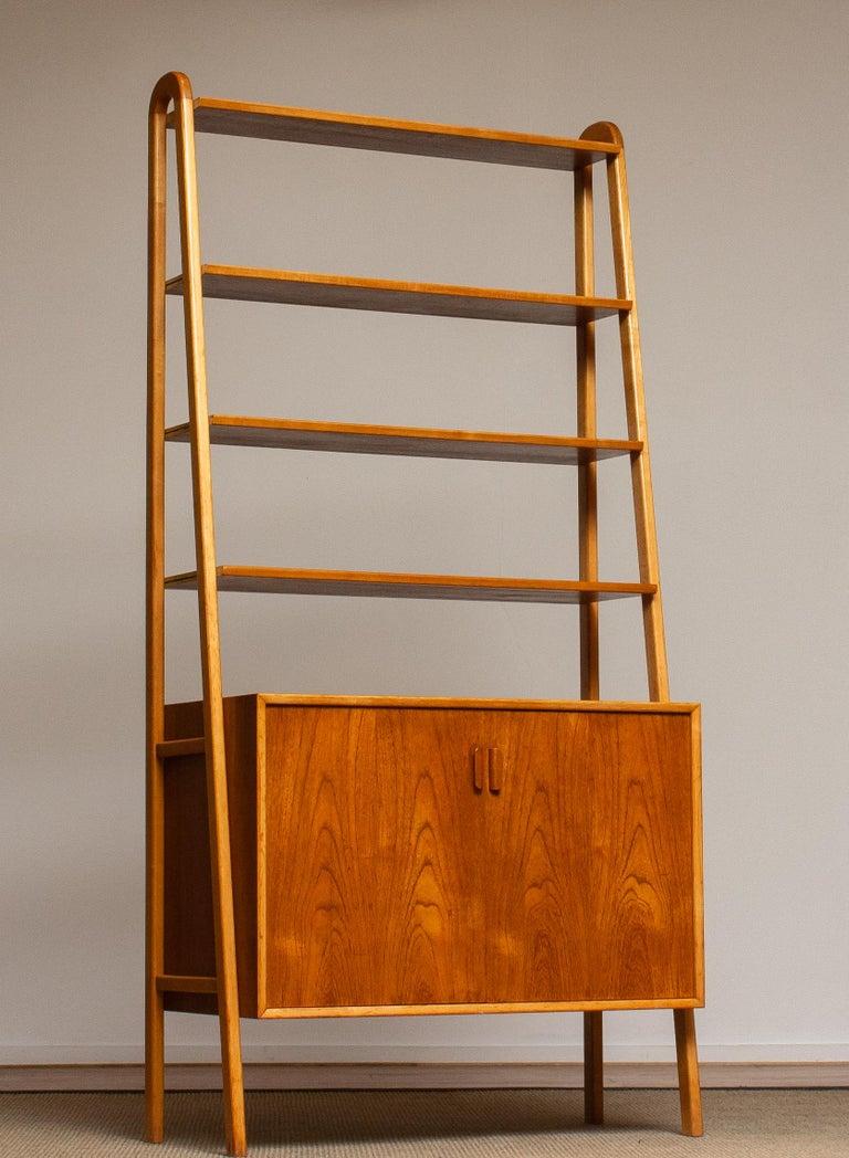 Scandinavian Modern 1950s Slim Shelfs / Bookcase / Sideboard in Teak and Beech by Brantorps, Sweden For Sale