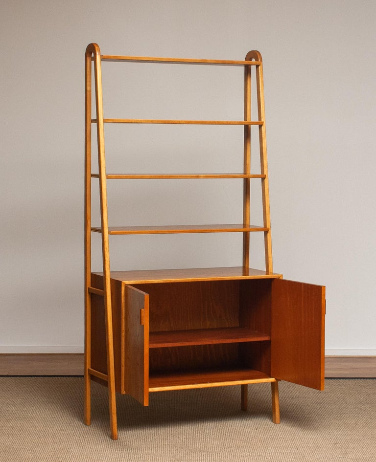 1950s Slim Shelfs / Bookcase / Sideboard in Teak and Beech by Brantorps, Sweden In Good Condition For Sale In Silvolde, Gelderland