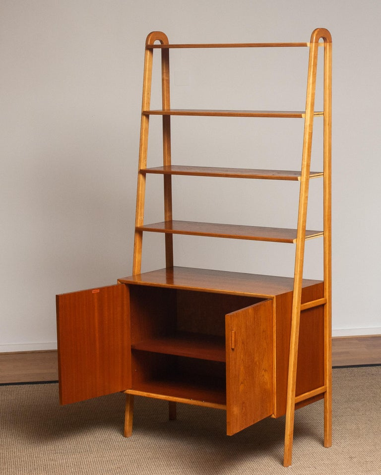 Mid-20th Century 1950s Slim Shelfs / Bookcase / Sideboard in Teak and Beech by Brantorps, Sweden For Sale