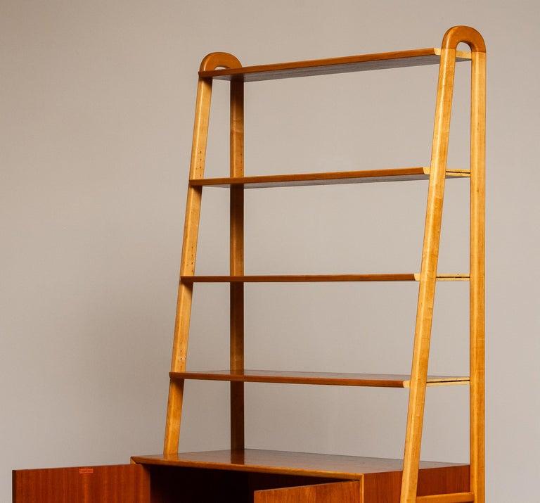 1950s Slim Shelfs / Bookcase / Sideboard in Teak and Beech by Brantorps, Sweden For Sale 1