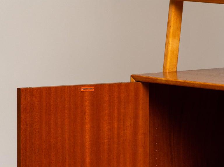 1950s Slim Shelfs / Bookcase / Sideboard in Teak and Beech by Brantorps, Sweden For Sale 2