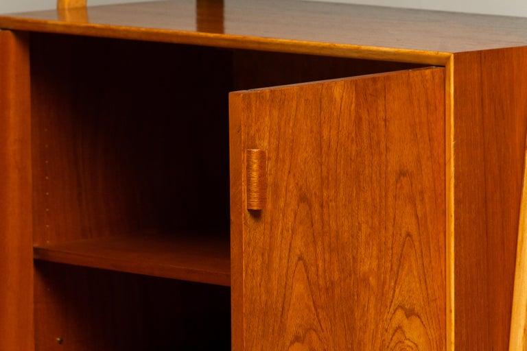 1950s Slim Shelfs / Bookcase / Sideboard in Teak and Beech by Brantorps, Sweden For Sale 3