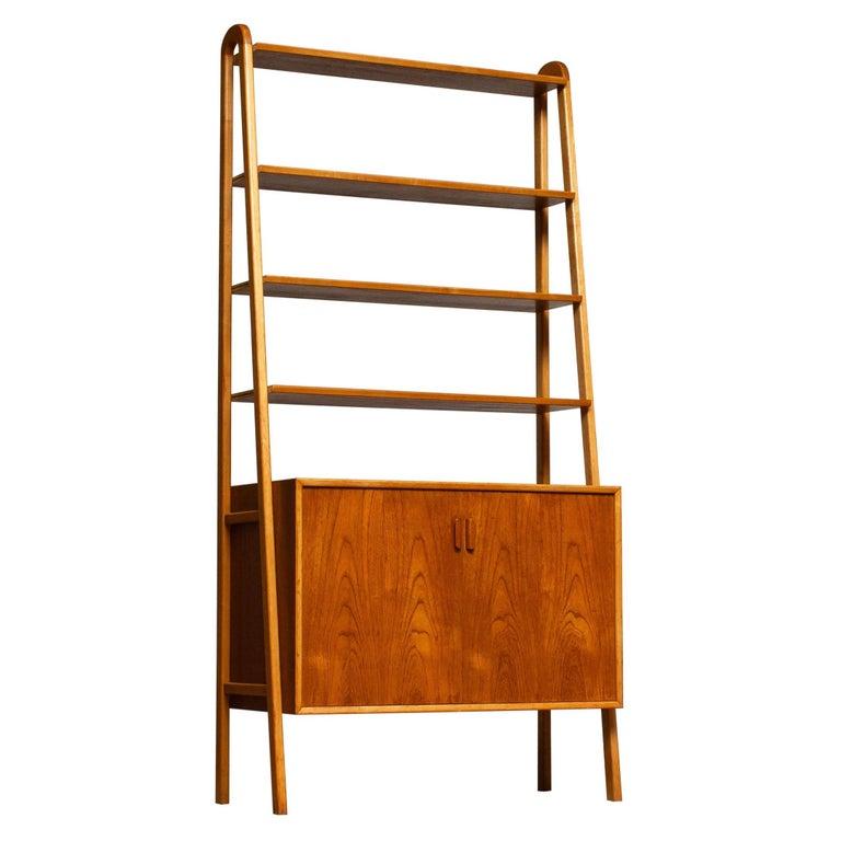 1950s Slim Shelfs / Bookcase / Sideboard in Teak and Beech by Brantorps, Sweden For Sale