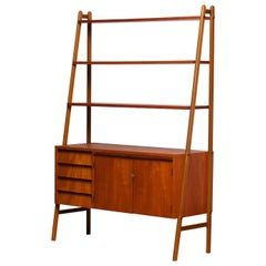 1950s, Slim Teak Bookcase Cabinet Secretaire with Beech Stands. Home Office