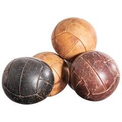 1950s Small Czech Leather Medicine Balls, Decorative