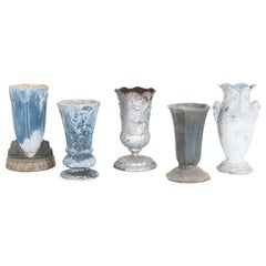 1950s Small French Cast Iron Urns, Set of Five