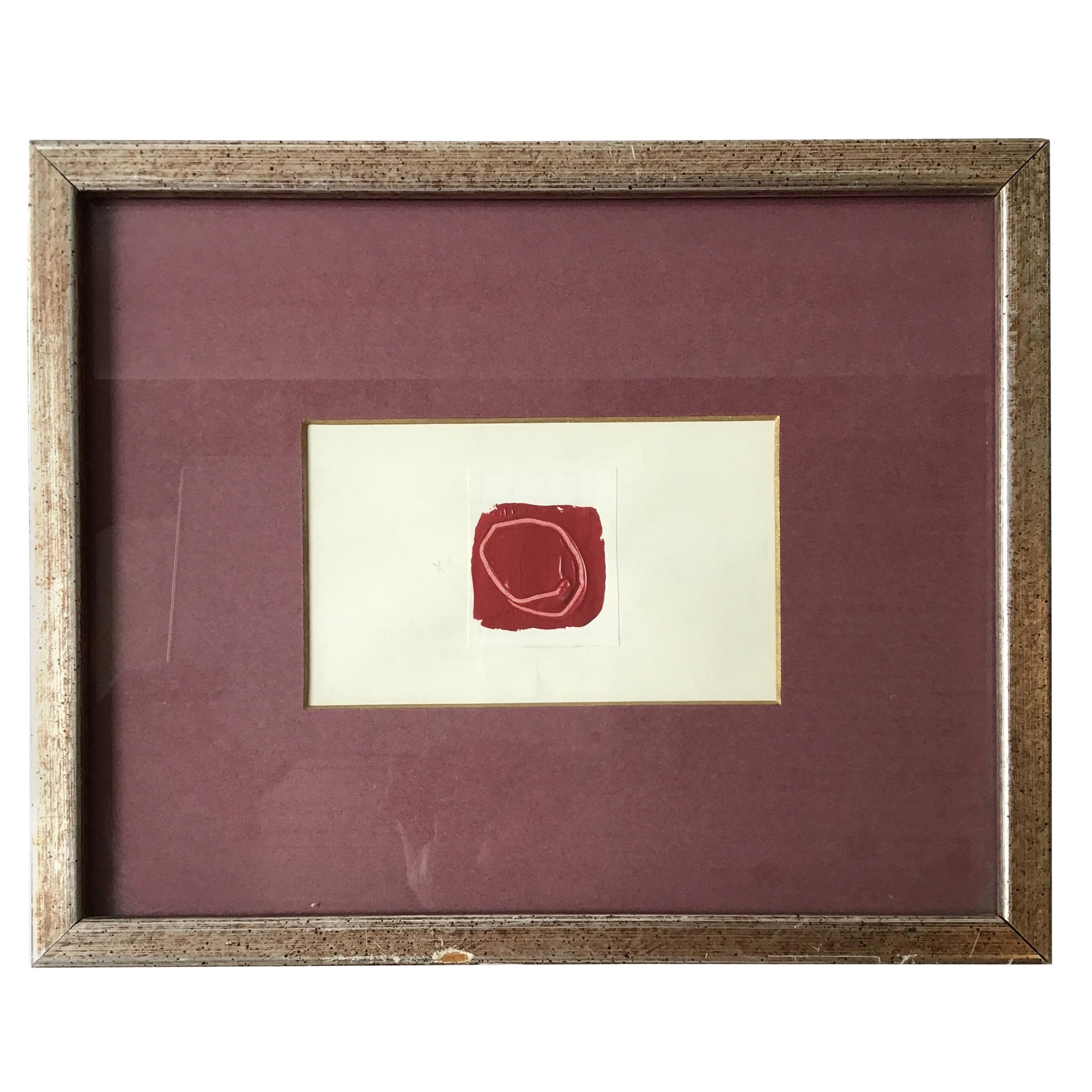 1950s Small Red Abstract Painting