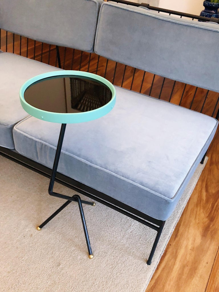 Brazilian 1950s Small Sofa Table in Iron, Black Glass and Brass, Brazil Mid Century Modern For Sale