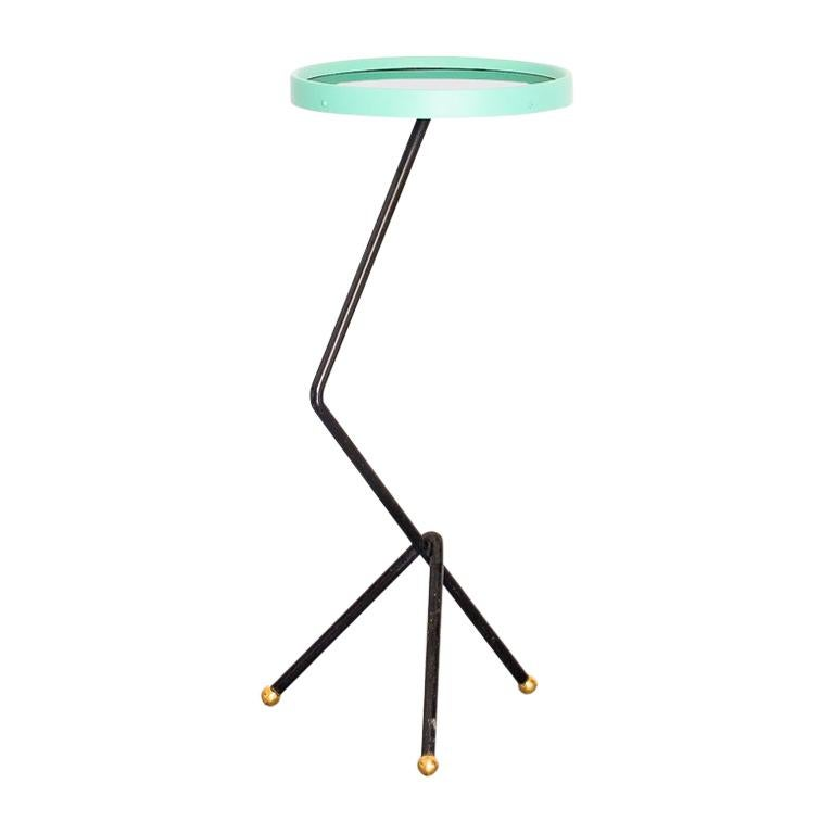 1950s Small Sofa Table in Iron, Black Glass and Brass, Brazil Mid Century Modern For Sale