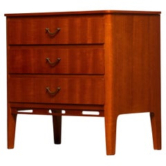 1950's Small Teak Three Drawers Dresser / Cabinet / Telephone Table SMI Marked
