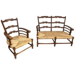 1950s Sofa and Armchair Set in Chestnut with Straw Italian