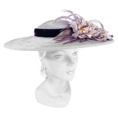 1950s Soft Grey Picture Hat with Purple Velvet Band, Flowers, and Feathers