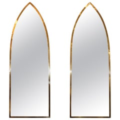 1950s Solid Brass Italian Arched Mirrors