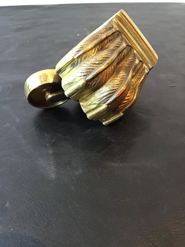 1950s Solid Brass Lion Paw Casters In Good Condition For Sale In Tarrytown, NY