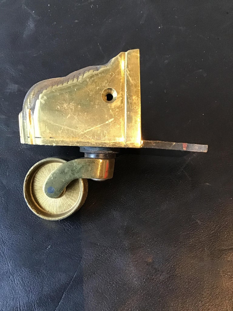 Mid-20th Century 1950s Solid Brass Lion Paw Casters For Sale